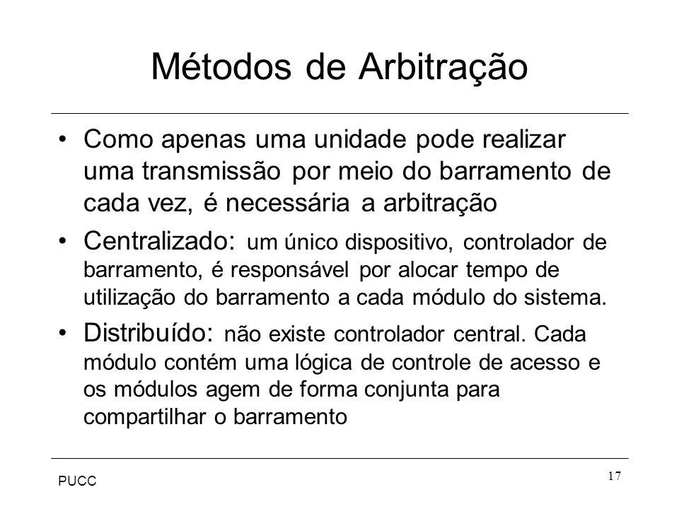 PUCC 17 Métodos de Arbitração Como apenas uma unidade pode realizar uma transmissão por meio do barramento de cada vez, é necessária a arbitração Cent