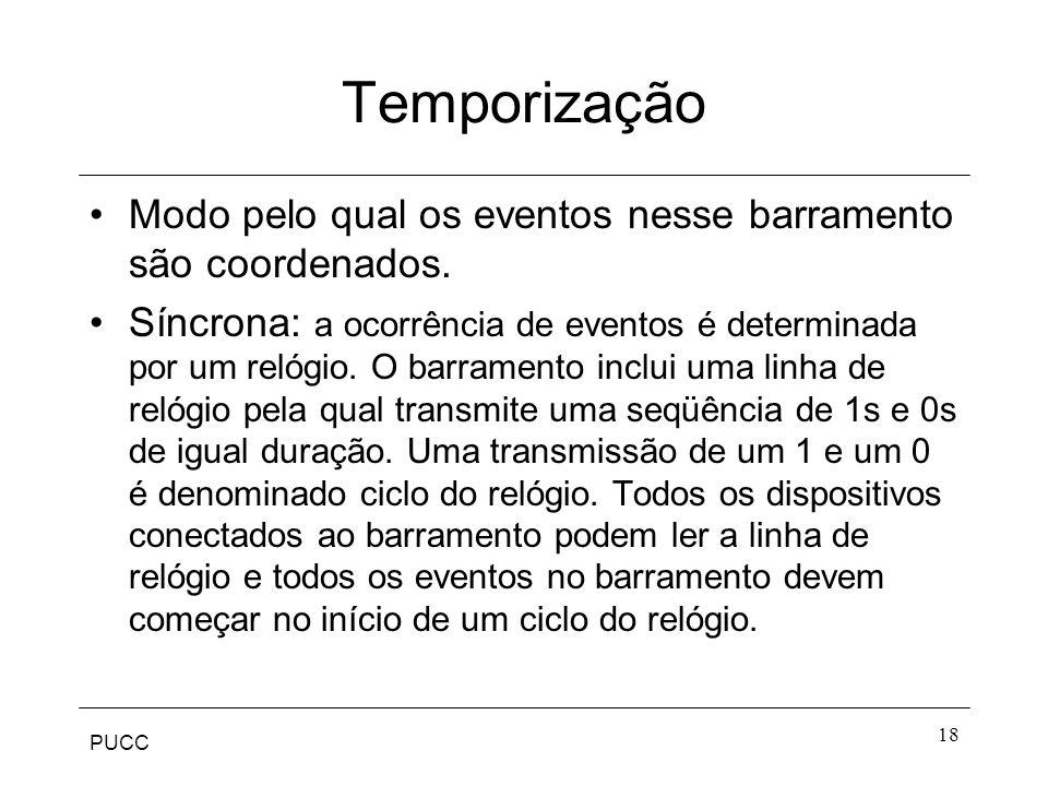 PUCC 18 Temporização Modo pelo qual os eventos nesse barramento são coordenados. Síncrona: a ocorrência de eventos é determinada por um relógio. O bar