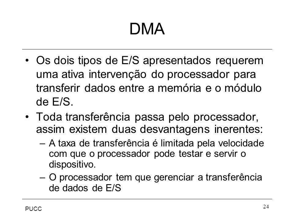 PUCC 24 DMA Os dois tipos de E/S apresentados requerem uma ativa intervenção do processador para transferir dados entre a memória e o módulo de E/S. T