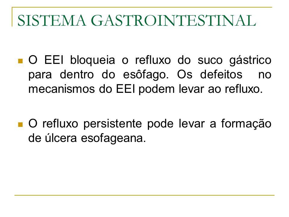 SISTEMA GASTROINTESTINAL O EEI bloqueia o refluxo do suco gástrico para dentro do esôfago. Os defeitos no mecanismos do EEI podem levar ao refluxo. O