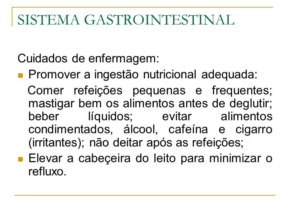 SISTEMA GASTROINTESTINAL Cuidados de enfermagem: Promover a ingestão nutricional adequada: Comer refeições pequenas e frequentes; mastigar bem os alimentos antes de deglutir; beber líquidos; evitar alimentos condimentados, álcool, cafeína e cigarro (irritantes); não deitar após as refeições; Elevar a cabeçeira do leito para minimizar o refluxo.