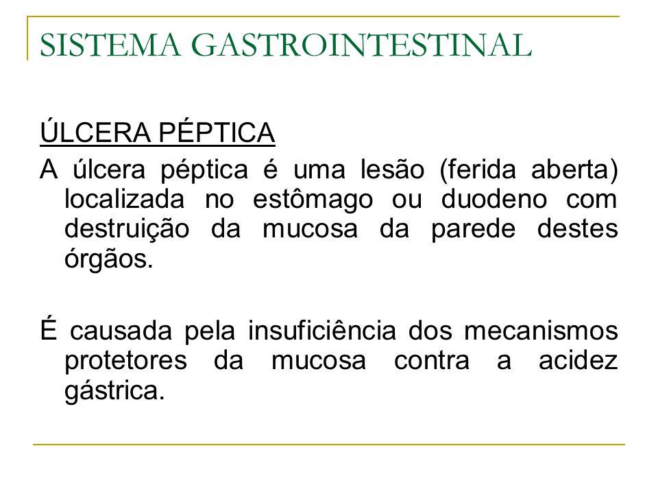 SISTEMA GASTROINTESTINAL ÚLCERA PÉPTICA A úlcera péptica é uma lesão (ferida aberta) localizada no estômago ou duodeno com destruição da mucosa da par