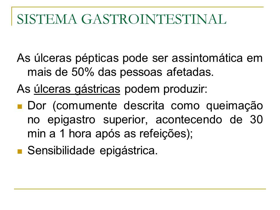 SISTEMA GASTROINTESTINAL As úlceras pépticas pode ser assintomática em mais de 50% das pessoas afetadas. As úlceras gástricas podem produzir: Dor (com