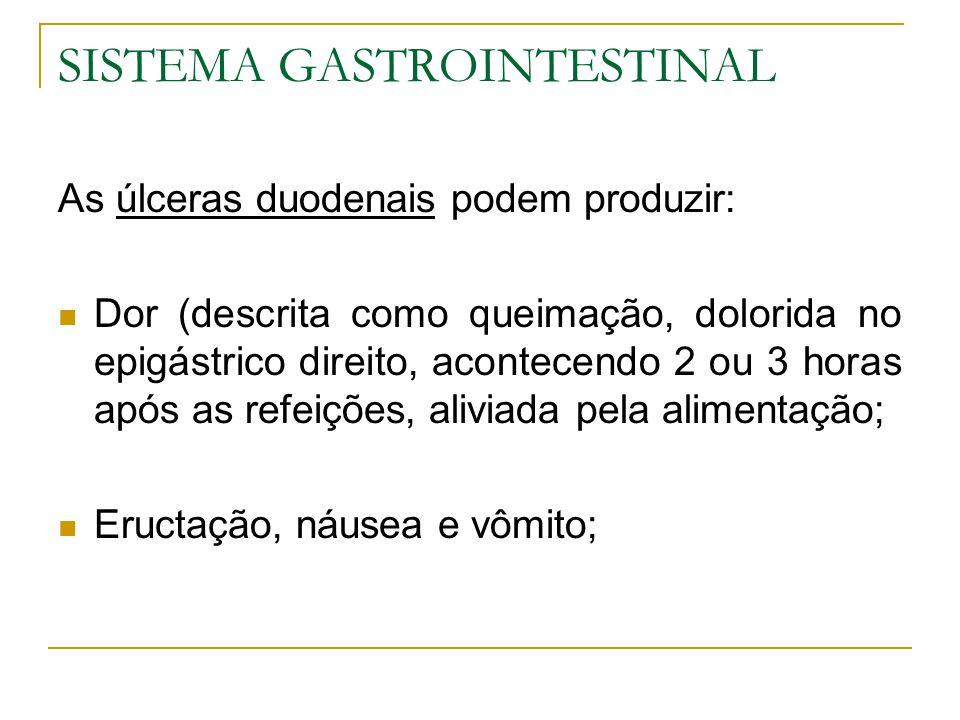 SISTEMA GASTROINTESTINAL As úlceras duodenais podem produzir: Dor (descrita como queimação, dolorida no epigástrico direito, acontecendo 2 ou 3 horas após as refeições, aliviada pela alimentação; Eructação, náusea e vômito;