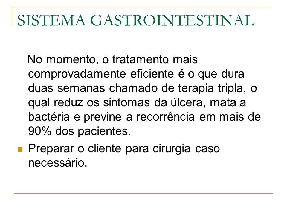 SISTEMA GASTROINTESTINAL No momento, o tratamento mais comprovadamente eficiente é o que dura duas semanas chamado de terapia tripla, o qual reduz os sintomas da úlcera, mata a bactéria e previne a recorrência em mais de 90% dos pacientes.