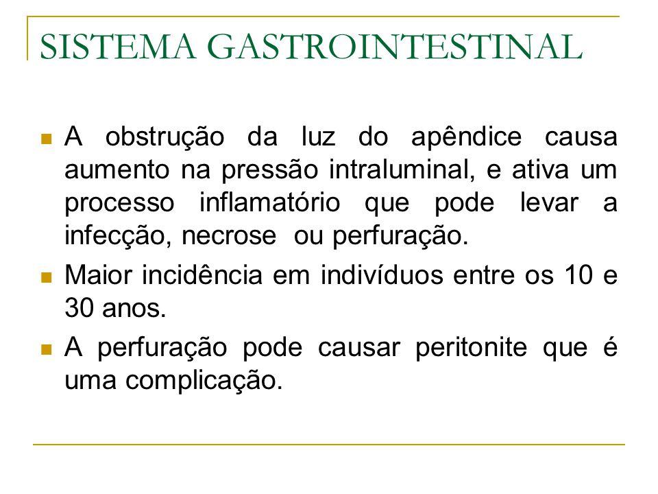 SISTEMA GASTROINTESTINAL A obstrução da luz do apêndice causa aumento na pressão intraluminal, e ativa um processo inflamatório que pode levar a infecção, necrose ou perfuração.