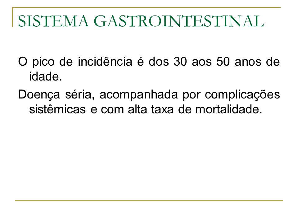 SISTEMA GASTROINTESTINAL O pico de incidência é dos 30 aos 50 anos de idade. Doença séria, acompanhada por complicações sistêmicas e com alta taxa de