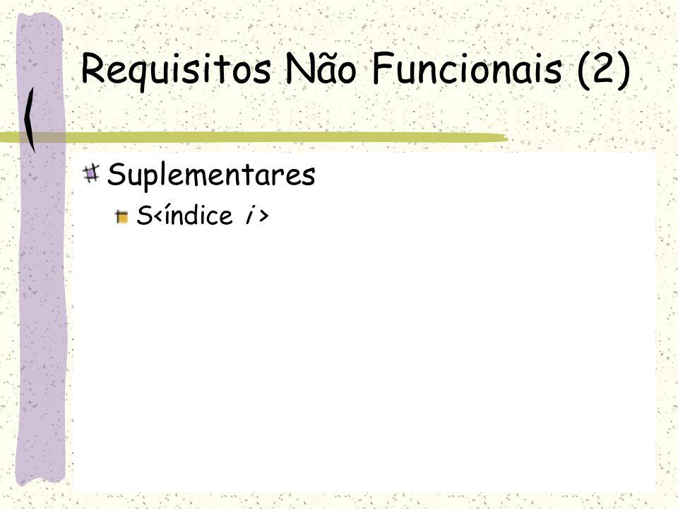 Requisitos Não Funcionais (2) Suplementares S