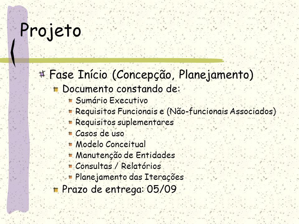 Projeto Fase Início (Concepção, Planejamento) Documento constando de: Sumário Executivo Requisitos Funcionais e (Não-funcionais Associados) Requisitos