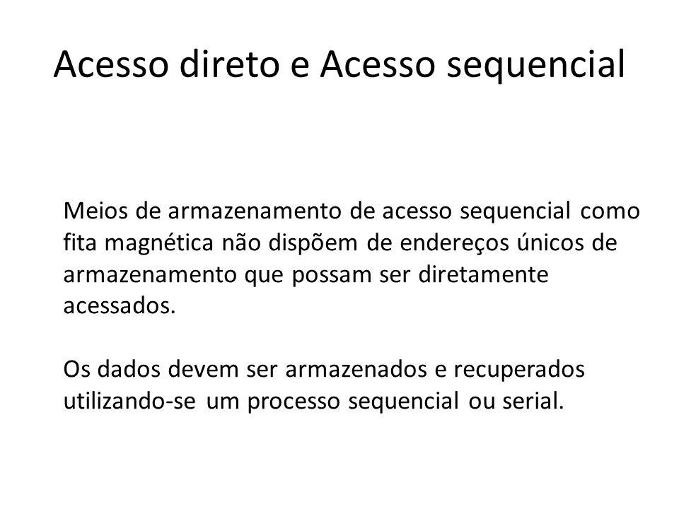 Acesso direto e Acesso sequencial Meios de armazenamento de acesso sequencial como fita magnética não dispõem de endereços únicos de armazenamento que