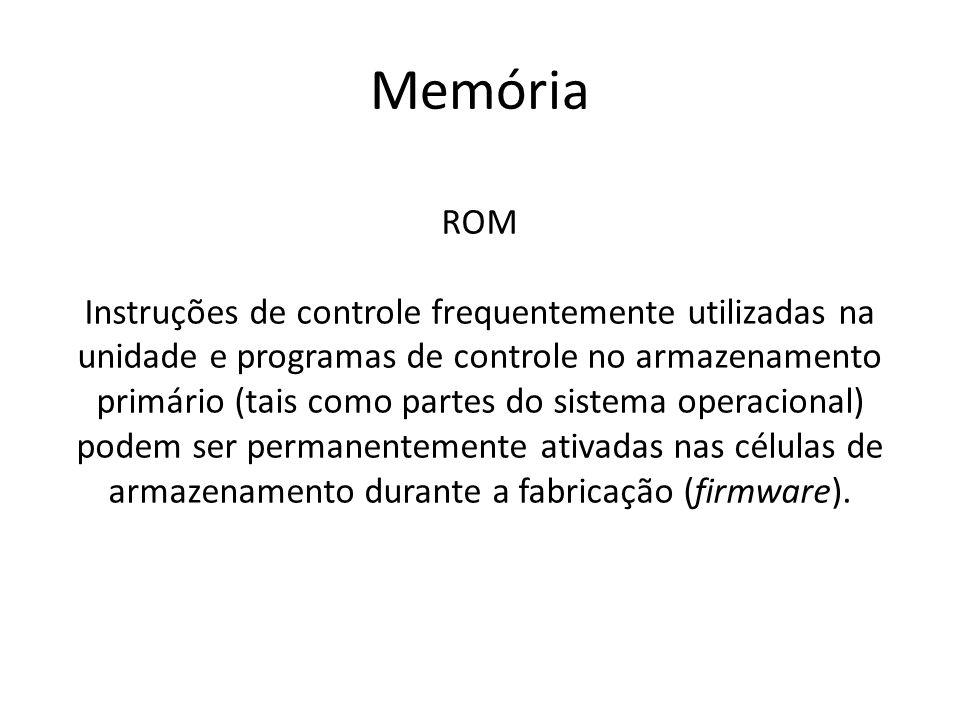 Memória ROM Instruções de controle frequentemente utilizadas na unidade e programas de controle no armazenamento primário (tais como partes do sistema