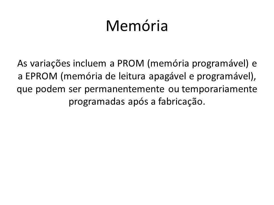 Memória As variações incluem a PROM (memória programável) e a EPROM (memória de leitura apagável e programável), que podem ser permanentemente ou temp