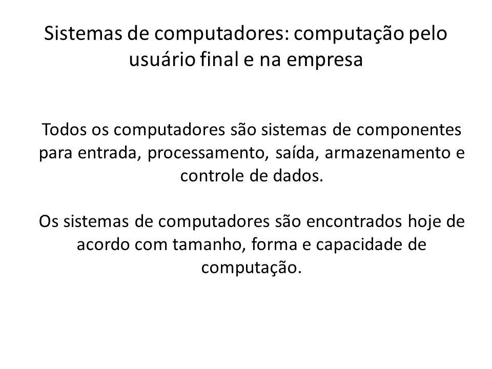 Todos os computadores são sistemas de componentes para entrada, processamento, saída, armazenamento e controle de dados. Os sistemas de computadores s
