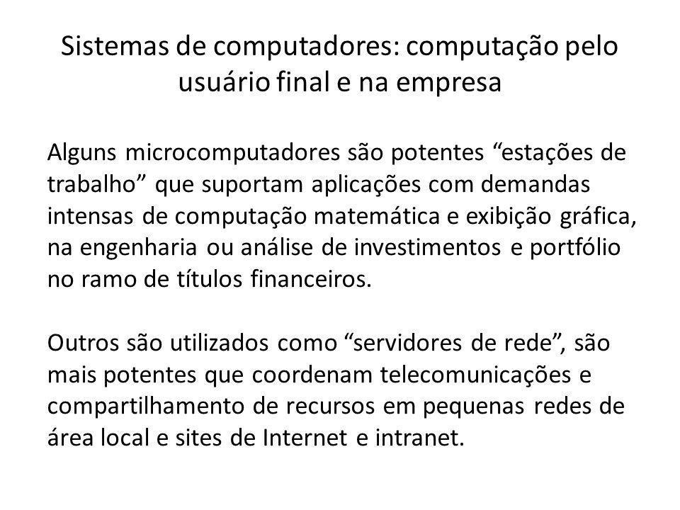 """Sistemas de computadores: computação pelo usuário final e na empresa Alguns microcomputadores são potentes """"estações de trabalho"""" que suportam aplicaç"""