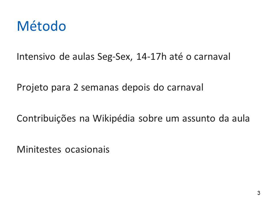 3 Método Intensivo de aulas Seg-Sex, 14-17h até o carnaval Projeto para 2 semanas depois do carnaval Contribuições na Wikipédia sobre um assunto da aula Minitestes ocasionais