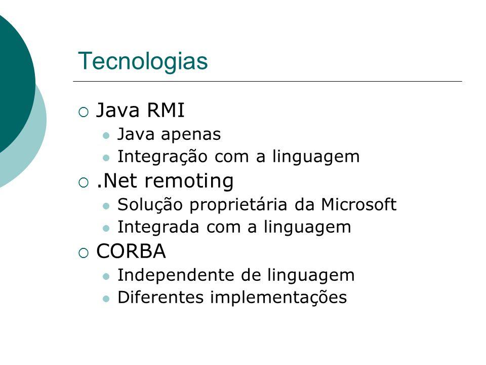 Tecnologias  Java RMI Java apenas Integração com a linguagem .Net remoting Solução proprietária da Microsoft Integrada com a linguagem  CORBA Indep