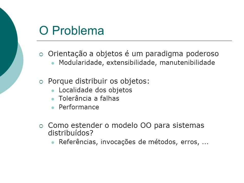 O Problema  Orientação a objetos é um paradigma poderoso Modularidade, extensibilidade, manutenibilidade  Porque distribuir os objetos: Localidade d