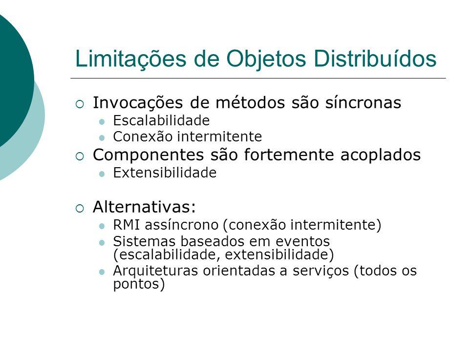 Limitações de Objetos Distribuídos  Invocações de métodos são síncronas Escalabilidade Conexão intermitente  Componentes são fortemente acoplados Ex