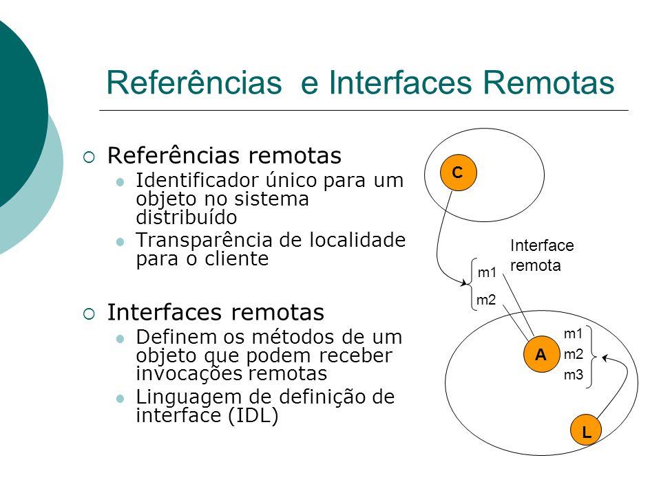 Referências e Interfaces Remotas  Referências remotas Identificador único para um objeto no sistema distribuído Transparência de localidade para o cl