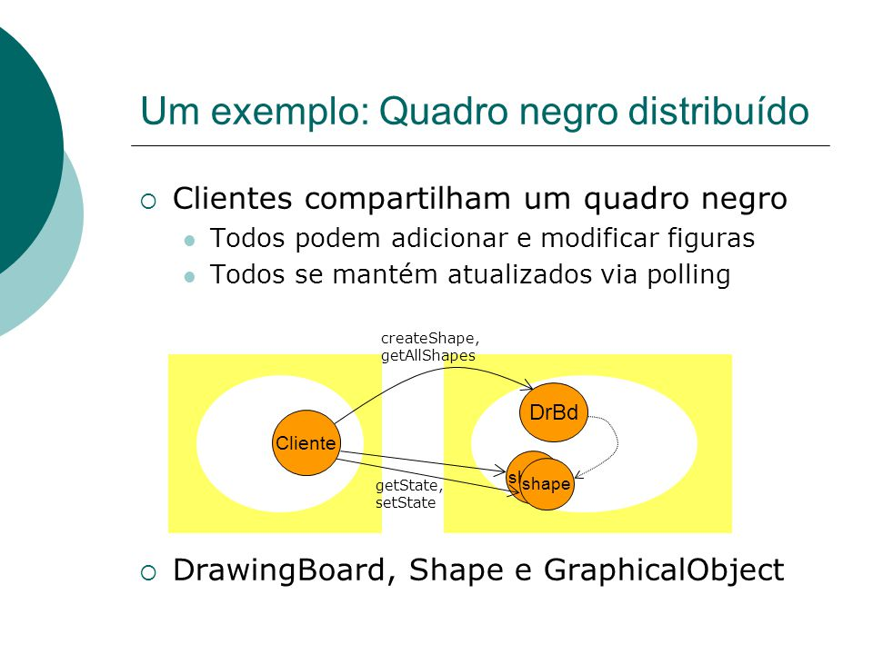 public class DrawingBoardImpl extends UnicastRemoteObject implements DrawingBoard{ private List theList; public Shape newShape(GraphicalObject g) throws RemoteException{ version++; Shape s = new ShapeImpl(g); theList.addElement(s); return s; } public Vector getAllShapes()throws RemoteException{ return theList; }