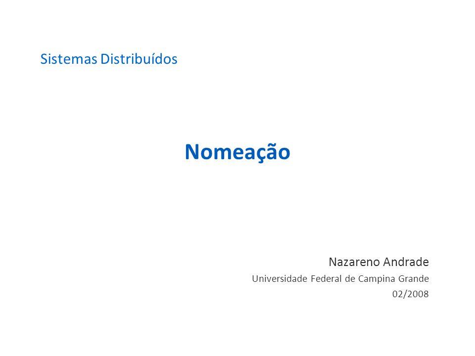 Nomeação Nazareno Andrade Universidade Federal de Campina Grande 02/2008 Sistemas Distribuídos