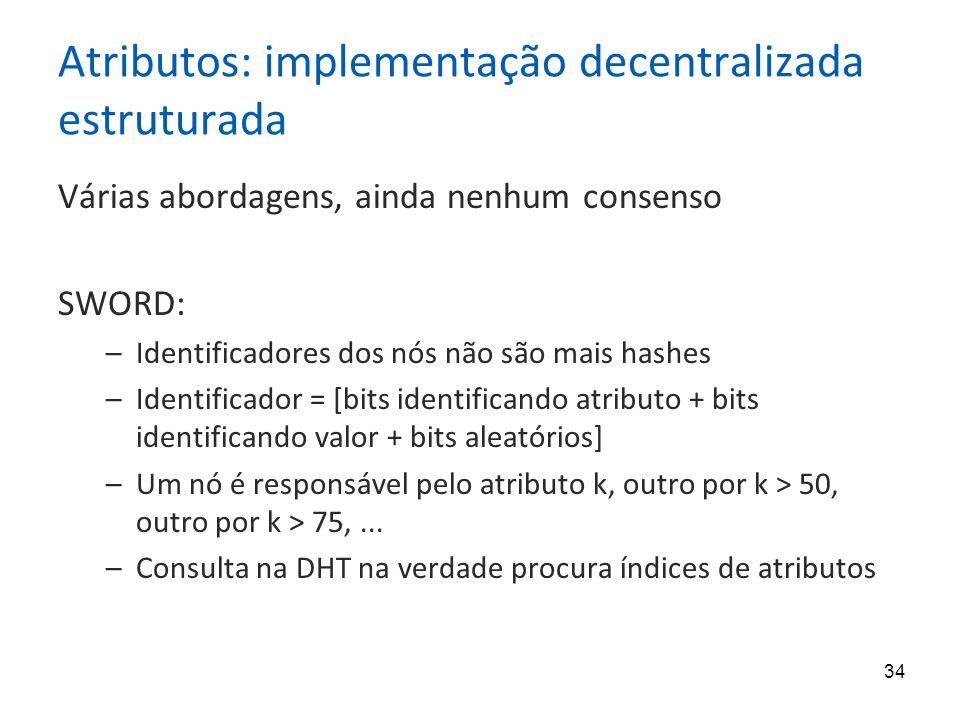 34 Atributos: implementação decentralizada estruturada Várias abordagens, ainda nenhum consenso SWORD: –Identificadores dos nós não são mais hashes –Identificador = [bits identificando atributo + bits identificando valor + bits aleatórios] –Um nó é responsável pelo atributo k, outro por k > 50, outro por k > 75,...