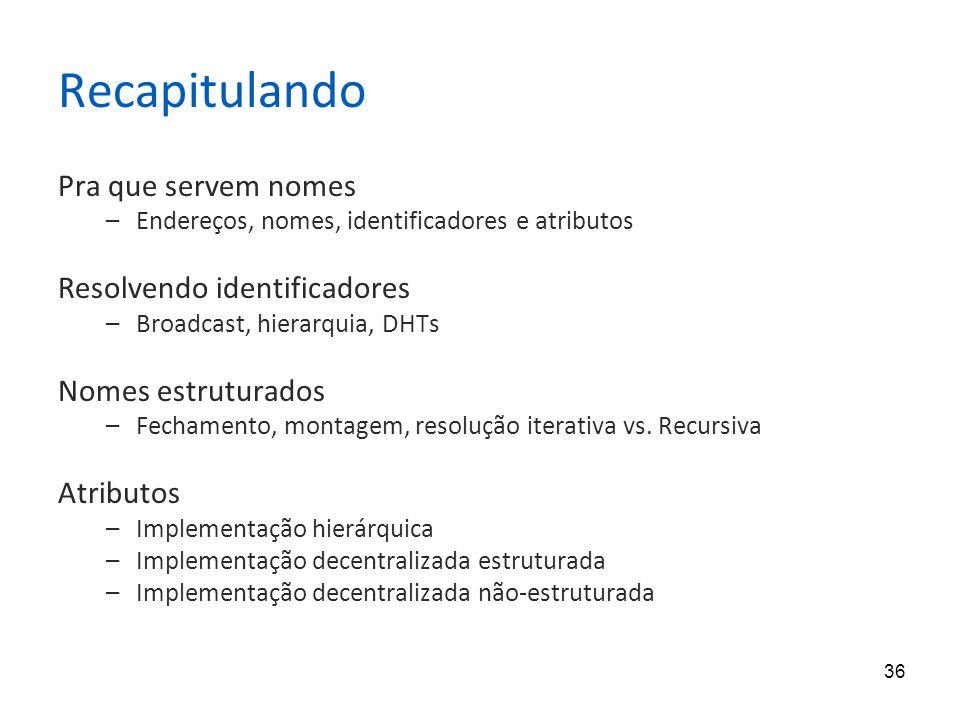 36 Recapitulando Pra que servem nomes –Endereços, nomes, identificadores e atributos Resolvendo identificadores –Broadcast, hierarquia, DHTs Nomes estruturados –Fechamento, montagem, resolução iterativa vs.