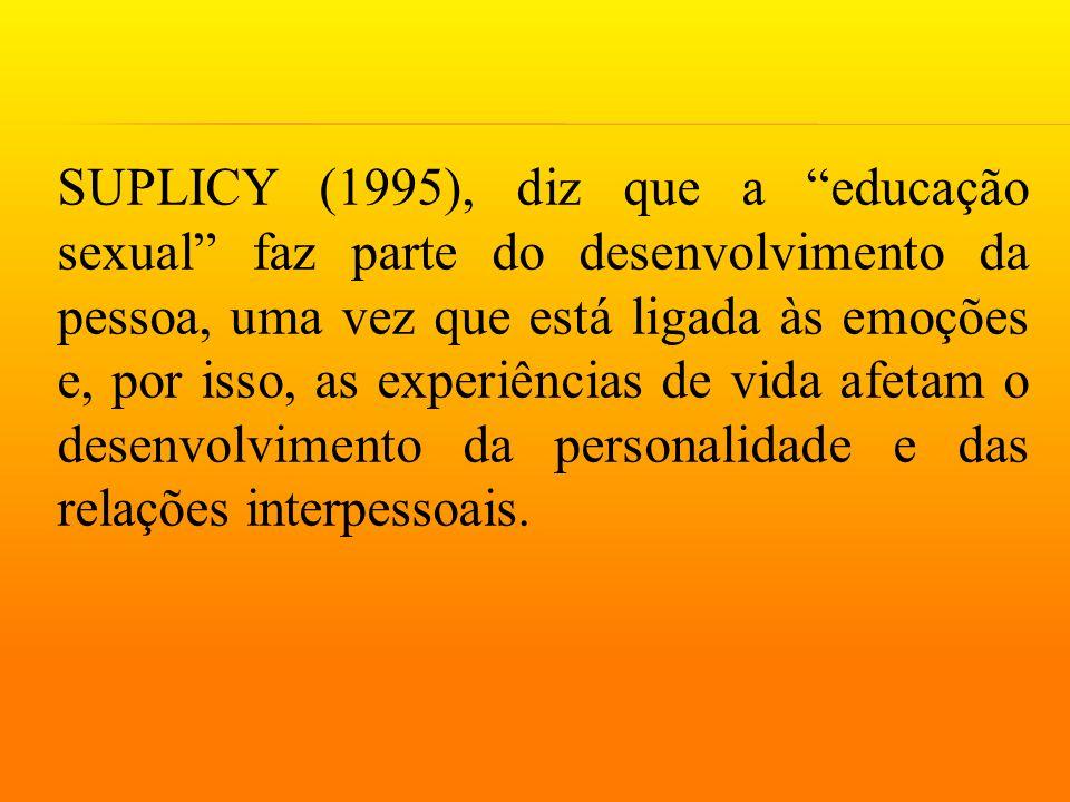 """SUPLICY (1995), diz que a """"educação sexual"""" faz parte do desenvolvimento da pessoa, uma vez que está ligada às emoções e, por isso, as experiências de"""