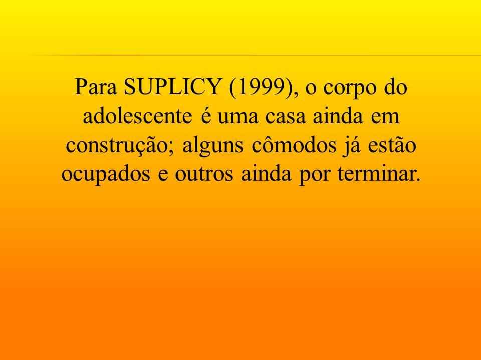 Para SUPLICY (1999), o corpo do adolescente é uma casa ainda em construção; alguns cômodos já estão ocupados e outros ainda por terminar.