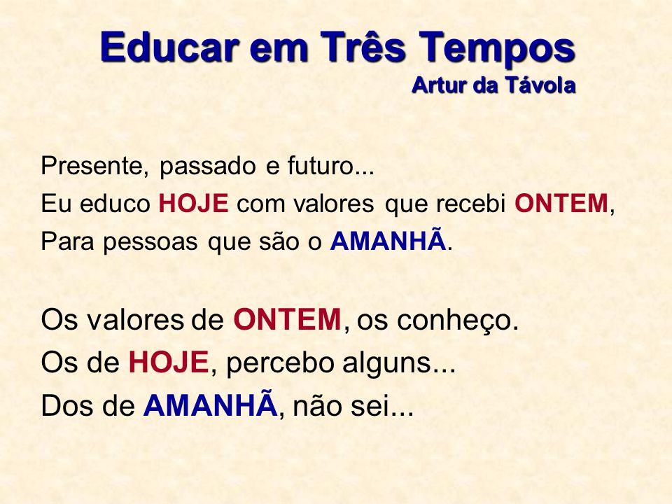 Educar em Três Tempos Artur da Távola Presente, passado e futuro... Eu educo HOJE com valores que recebi ONTEM, Para pessoas que são o AMANHÃ. Os valo