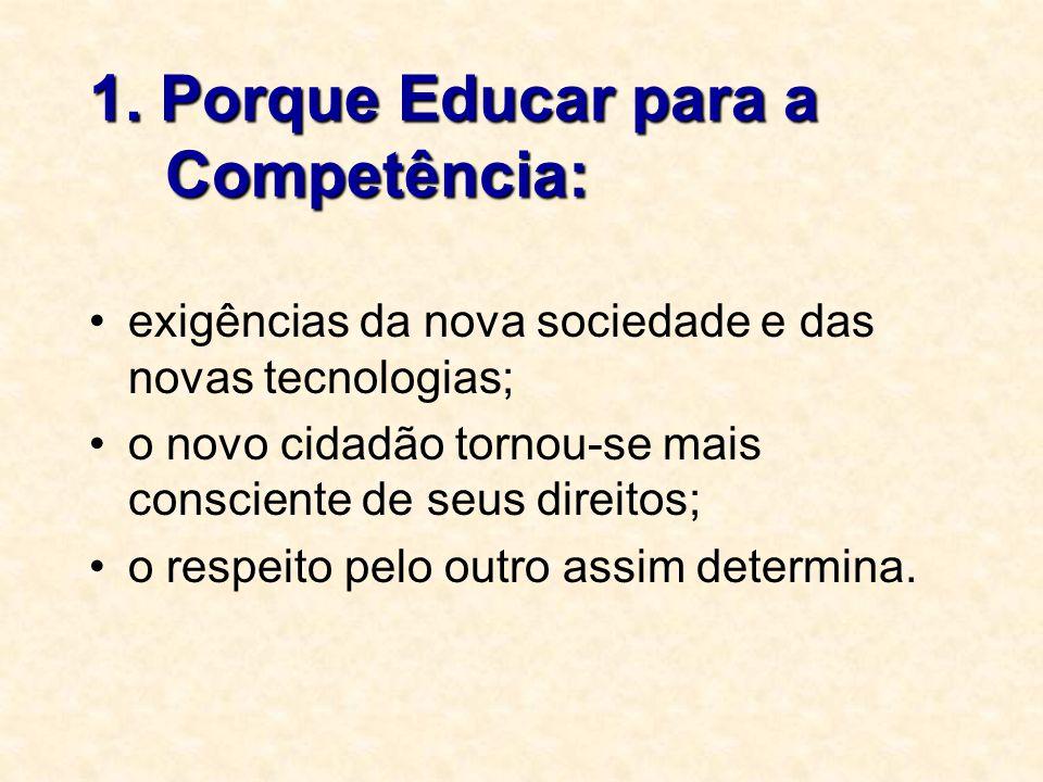 1. Porque Educar para a Competência: exigências da nova sociedade e das novas tecnologias; o novo cidadão tornou-se mais consciente de seus direitos;