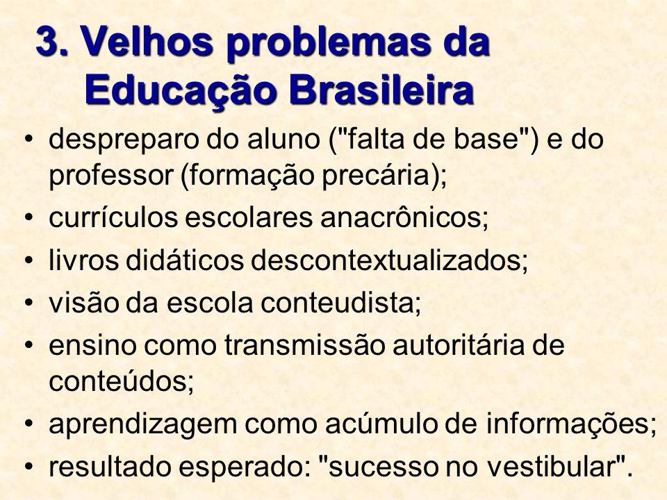 3. Velhos problemas da Educação Brasileira despreparo do aluno (