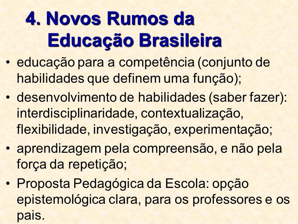 4. Novos Rumos da Educação Brasileira educação para a competência (conjunto de habilidades que definem uma função); desenvolvimento de habilidades (sa