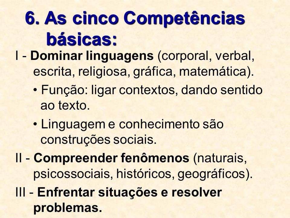 6. As cinco Competências básicas: I - Dominar linguagens (corporal, verbal, escrita, religiosa, gráfica, matemática). Função: ligar contextos, dando s
