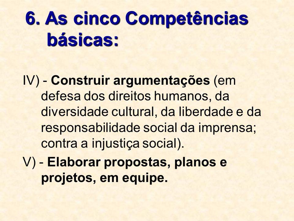 6. As cinco Competências básicas: IV) - Construir argumentações (em defesa dos direitos humanos, da diversidade cultural, da liberdade e da responsabi