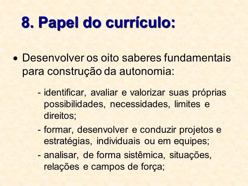 8. Papel do currículo:  Desenvolver os oito saberes fundamentais para construção da autonomia: -identificar, avaliar e valorizar suas próprias possib