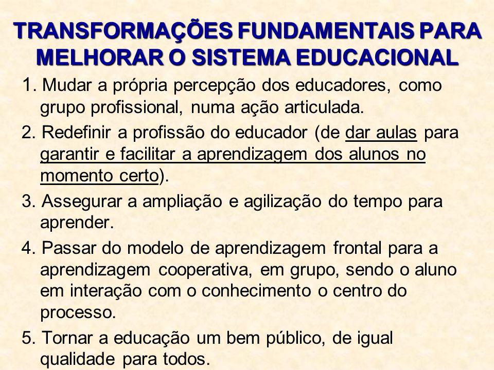 TRANSFORMAÇÕES FUNDAMENTAIS PARA MELHORAR O SISTEMA EDUCACIONAL 1. Mudar a própria percepção dos educadores, como grupo profissional, numa ação articu