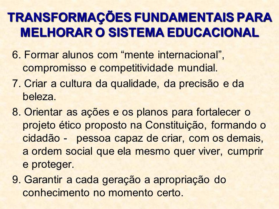 """TRANSFORMAÇÕES FUNDAMENTAIS PARA MELHORAR O SISTEMA EDUCACIONAL 6. Formar alunos com """"mente internacional"""", compromisso e competitividade mundial. 7."""