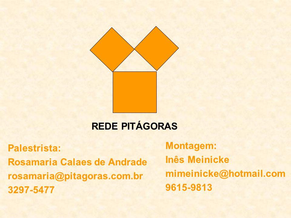 Palestrista: Rosamaria Calaes de Andrade rosamaria@pitagoras.com.br 3297-5477 Montagem: Inês Meinicke mimeinicke@hotmail.com 9615-9813 REDE PITÁGORAS