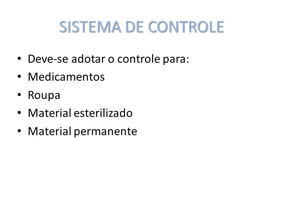 SISTEMA DE CONTROLE Deve-se adotar o controle para: Medicamentos Roupa Material esterilizado Material permanente