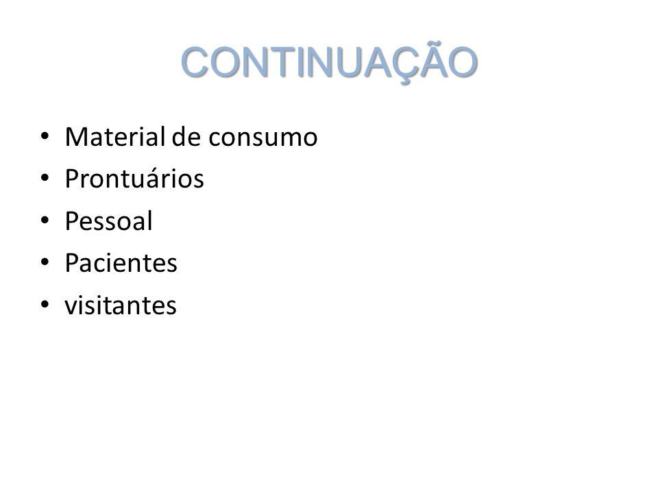 CONTINUAÇÃO Material de consumo Prontuários Pessoal Pacientes visitantes
