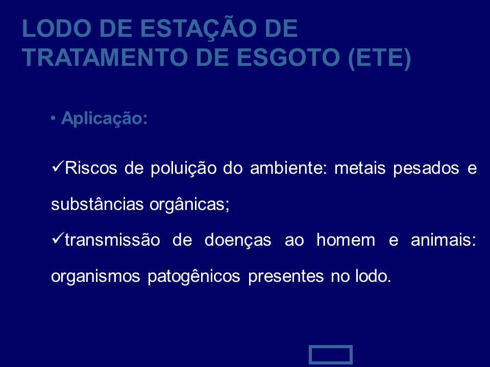 42 LODO DE ESTAÇÃO DE TRATAMENTO DE ESGOTO (ETE) Aplicação: Riscos de poluição do ambiente: metais pesados e substâncias orgânicas; transmissão de doe