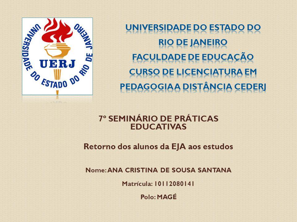 7º SEMINÁRIO DE PRÁTICAS EDUCATIVAS Retorno dos alunos da EJA aos estudos Nome: ANA CRISTINA DE SOUSA SANTANA Matrícula: 10112080141 Polo: MAGÉ