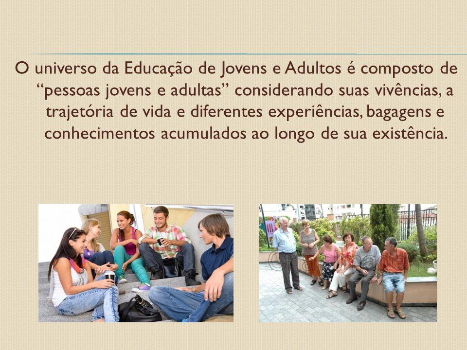 """O universo da Educação de Jovens e Adultos é composto de """"pessoas jovens e adultas"""" considerando suas vivências, a trajetória de vida e diferentes exp"""