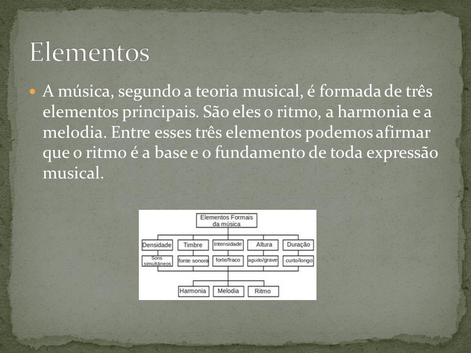 A música, segundo a teoria musical, é formada de três elementos principais. São eles o ritmo, a harmonia e a melodia. Entre esses três elementos podem