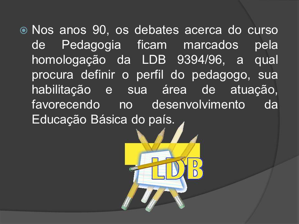 Nos anos 90, os debates acerca do curso de Pedagogia ficam marcados pela homologação da LDB 9394/96, a qual procura definir o perfil do pedagogo, su