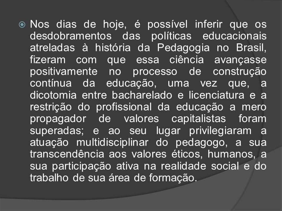  Nos dias de hoje, é possível inferir que os desdobramentos das políticas educacionais atreladas à história da Pedagogia no Brasil, fizeram com que e