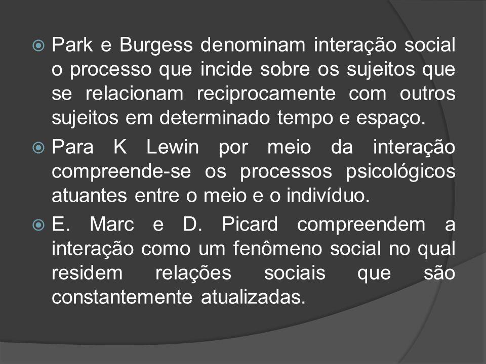  Park e Burgess denominam interação social o processo que incide sobre os sujeitos que se relacionam reciprocamente com outros sujeitos em determinad