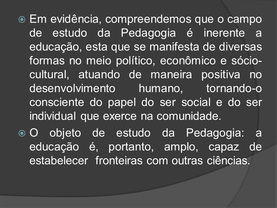  Em evidência, compreendemos que o campo de estudo da Pedagogia é inerente a educação, esta que se manifesta de diversas formas no meio político, eco