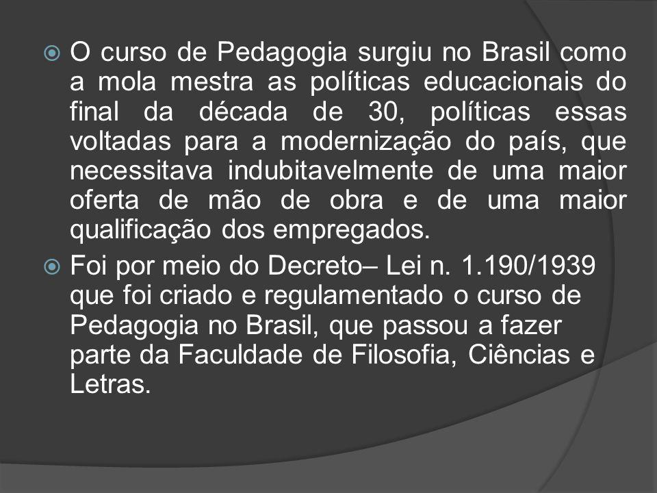  O curso de Pedagogia surgiu no Brasil como a mola mestra as políticas educacionais do final da década de 30, políticas essas voltadas para a moderni